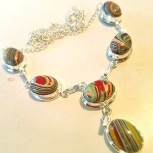 Semi Precious Stones & Sterling Silver Necklace
